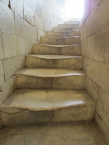The warped tower stairs from decades of climbing.
