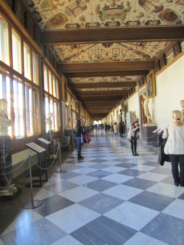 Hallway in Uffizi, one of Florence's amazing museums.