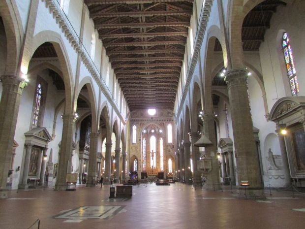 Inside Santa Croce, final resting place of Michelangelo.