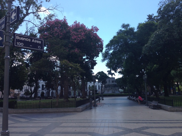 Plaza San Martin in Cordoba, Argentina. Best place in Cordoba to find the Blue dollar rate.