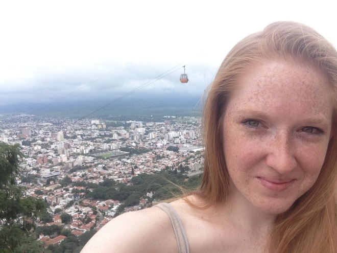Me all sweaty after the climb to the top. So worth it!