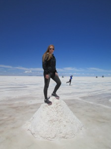On top of one of the salt pyramids as one of the last stops on the tour.